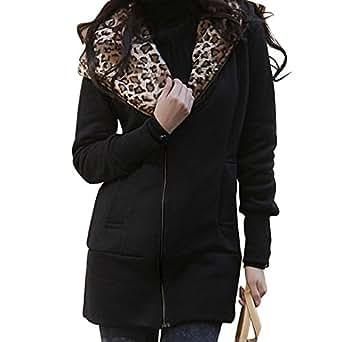 Djt - Femme Léopard Hoodie Zip Sweat Shirt Manteau Veste Blouson Avec Capuche Noir L