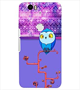 PrintDhaba OWL PATTERN D-7090 Back Case Cover for HUAWEI NEXUS 6P (Multi-Coloured)