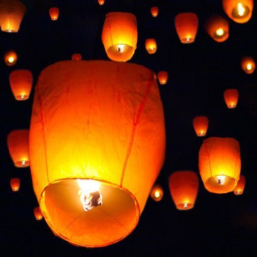 TMS?50 White Chinese Paper Sky Flying Wishing Lantern Lamp Candle Party Wedding Wish by T-Motorsports