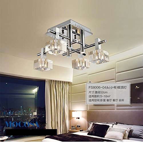 Modern Square Striated Crystal Living Room Ceiling Lamps Bedroom Stylish Stainless Steel Ceiling Light Dining Room Restaurant Ceiling Lighting Fixtures (4 Lights(52*30*52Cm))