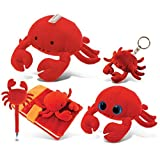 Puzzled Plush Red Crab Collection: Bank, Keychain, Pen, Big Eyes 6 Inch And Notebook, Set Of 5