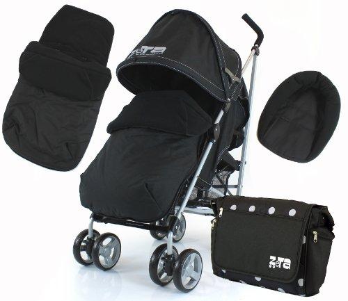 ZETA VOOOM - BLACK (Complete Plain) + Changing Bag + Footmuff + Raincover