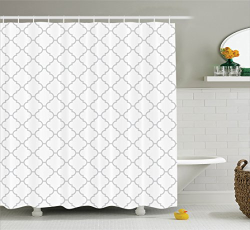 Gray Shower Curtain Grey Decor by Ambesonne, Simple Monochrome Patterns Geometric Linked Forms on Plain Background Modern Figures print, Polyester Fabric Bathroom, 84 Inches Extra Long, White (Arabian Party Decorations)