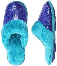 Envision Studio Womens Blue Sequin Slippers Faux Fur House Shoes Scuffs