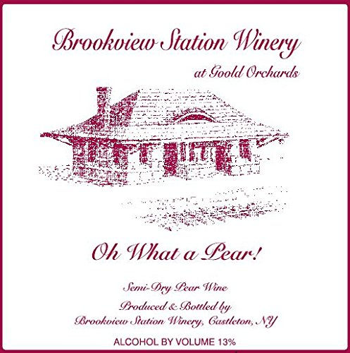 """Nv Brookview Station """"Oh What A Pear!"""" Semi-Dry Pear Wine 750 Ml"""
