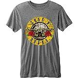 Guns N' Roses Men's Bullet Logo Burn Out Gnr T-shirt Grey