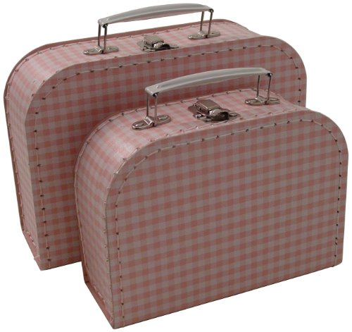 Kidstyle Gingham Mini Suitcases, Pink/White, Set Of 2 back-852560