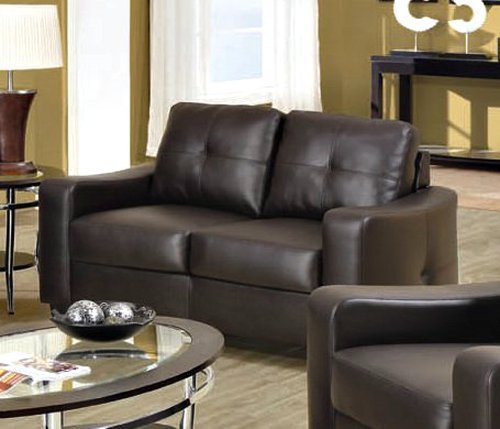 Loveseat with Stitched Design in Brown Leatherette