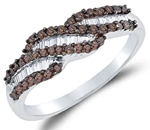 925 Sterling Silver Invisible & Channel Set Round Brilliant and Baguette Cut Chocolate Brown and White Diamond Ladies Womens Wedding Band OR Anniversary Ring (.48 cttw.) from Sonia Jewels