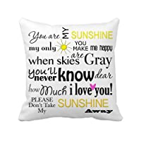 ilkin Throw Pillow Case Decor Cushion Covers Square 18*18 Inch Canvas you are my sunshine from ilkin