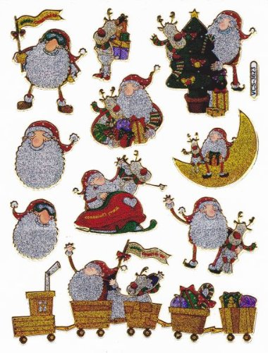 Weihnachten Weihnachtsman Nikolaus Deko Basteln Glitzer Metallic Spiel Sticker Bogen Aufkleber E372