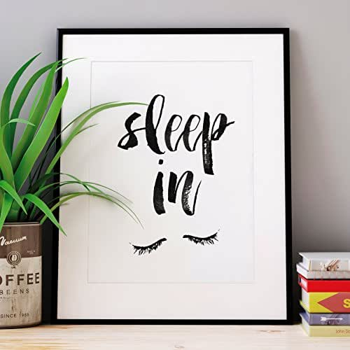 Sleep in watercolor typography poster wall for Home decorations amazon