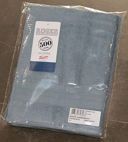 SET COPPIA 2 PEZZI 1+1 ASCIUGAMANI 60x110 + 40x60 COGAL ROGER COORDINATO COL.DUSTY BLUE ASCIUGAMANO 100% PURO COTONE