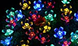 E-Bro Solar Powered 50 LED Peach Blossom String Light for Outdoor Decorative Gardens and Indoor Christmas Party Wedding Patio (Multi-colored)