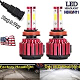 1Pair H8 H9 H11 LED Headlight Bulbs 20000LM 6000K Pure White Super Bright High/Low Beam/Fog Light/DRL All-in-One Conversion Kit