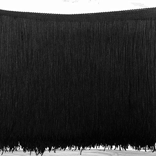 "Best Price 18""LONG FRINGE Black Chainette Fringe Selling Per Yard"