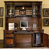 Home Office Computer Desk with Hutch in Two Tone Warm Brown Finish
