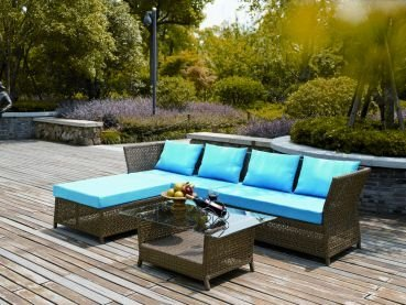 rattan gartenm bel lounge sitzgruppe florenz 4 teilig hellbraun alurahmen hochwertig. Black Bedroom Furniture Sets. Home Design Ideas