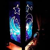 Blue Star Moon Handmade Asian Oriental Wood Table Bedside Light Night Lamp Gift Bedroom Garden Shade Frame Free Adapter a Us 2 Pin Plug #399