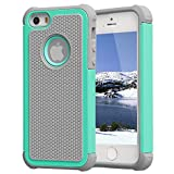 Iphone 5 Case,Iphone 5S Case,Iphone SE Case,ACCUCASE,Shockproof,Dropproof,2 in 1 PC+TPU Colorfull Fashion Cute Armor Case for kids,boys,girls(Hot Blue)