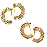 Combo of ( Pack of Two Earrings Set )Tradisyon Alloy Bollywood Celebrity Inspired White, Pink Hanging Earrings