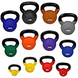 JLL® Kettlebells with Coloured Neoprene (Rubber) Covered Cast Iron 6kg to 24kg Home Gym Fitness Exercise Kettlebell workout training 6kg, 8kg, 10kg, 12kg, 14kg, 16kg,20kg, 24kg