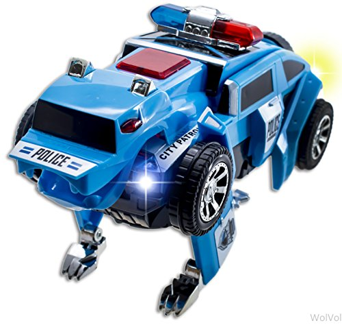 Police Toys For Boys : Wolvol blue electric transformers patrol police car toy