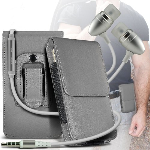 Grey Samsung Galaxy S Blaze 4G PU Leather Belt Holster Pouch Case Cover Holder And Ear Buds Stereo Hands Free Headphones Headset with Built in Microphone Mic and On-Off Button By ONX3