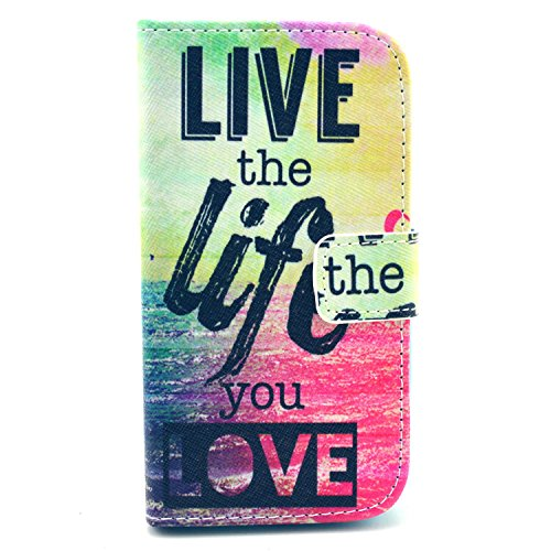 For Samsung Galaxy Core GT-I8262 Case, IVY Live The Life You Love - Fashion Elegance Magnetic Snap Wallet Flip Synthetic Leather Stand With TPU Case Cover Skin For Samsung Galaxy Core GT-i8260 i8262