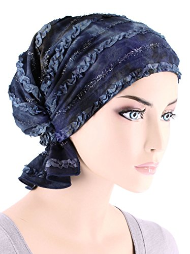 Abbey Cap Women's Chemo Hat Beanie Scarf Turban Headwear for Cancer Blended Knit Blue Watercolor Ribbon (Cancer Head Caps compare prices)