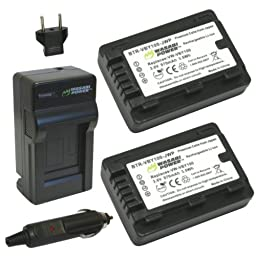 Wasabi Power Battery (2-Pack) and Charger for Panasonic VW-VBY100 and Panasonic HC-V110, HC-V130, HC-V201