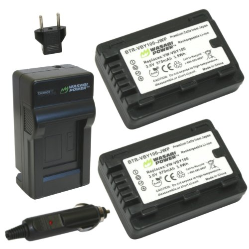 Wasabi Power Battery (2-Pack) and Charger for Panasonic VW-VBY100 and Panasonic HC-V110, HC-V201