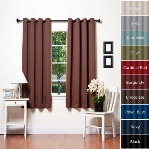 Chocolate Grommet Top Thermal Insulated Blackout Curtain 63