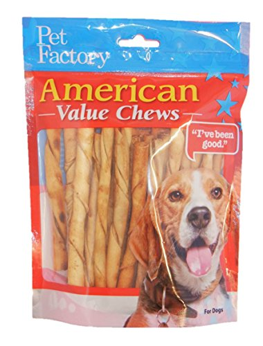 PET FACTORY 28754 American Beef-Hide Premium Chicken Flavored Twist Sticks, 5-Inch 25-Pack (Made In America Rawhide compare prices)