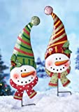 KNLSTORE Set of 2 Whimsical Cute Color Metal Smiling Snowman Outdoor Yard Garden Stake Christmas Decor Santa Elf Candy Stripe Hat Carrot Nose Holiday Glitter Winter Scarf Holly Ivy Berries Decorations