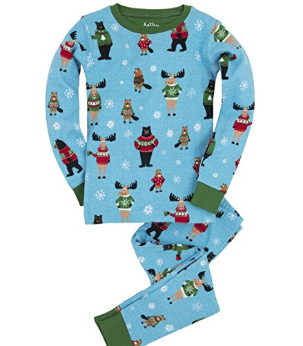 Hatley Little Boys' Pajama Set Ugly Sweater, Blue, 7 front-519112