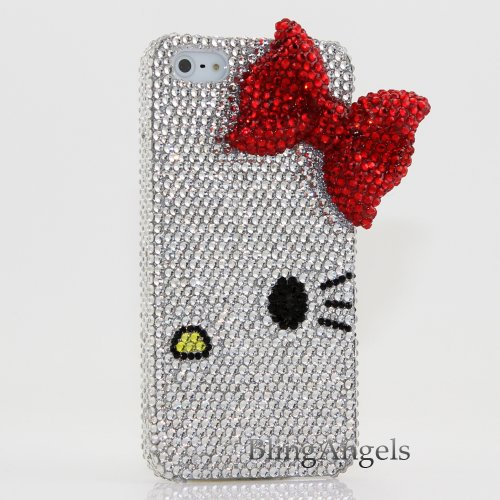 Great Price Bling iphone 5 5S 3D Swarovski Luxury Crystal Diamond Case Cover Faceplate Hello Kitty with Red Bow Design (100% Handcrafted by BlingAngels® with Carry Pink Pouch)