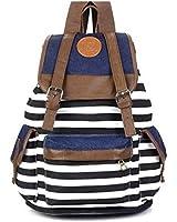 Santimon - Unisex Fashionable Canvas Backpack School Bag Super Cute Stripe School College Laptop Bag for Teens Girls Boys Students