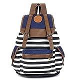 MERSUII Unisex Fashionable Canvas Backpack School Bag Super Cute Stripe School College Laptop Bag for Teens Girls Boys Students - Black Stripe
