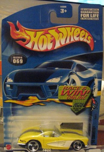 Hot Wheels 2002 '58 Corvette #69 Corvette Series 3/4 YELLOW 1:64 Scale