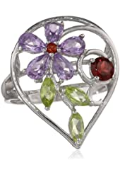 Sterling Silver Multiple Stone Amethyst, Garnet and Peridot Ring, Size 7