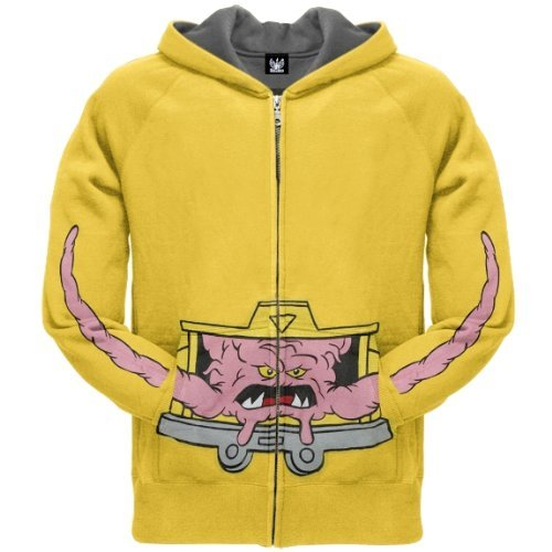 Old Glory Mens Teenage Mutant Ninja Turtles - Krang Zip Hoodie - X-Large Yellow