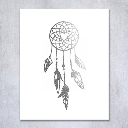 Dreamcatcher Silver Foil Decor Tribal Boho Chic Dream Catcher Wall Art Print Metallic Poster 8 inches x 10 inches A18