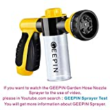 GEEPIN Garden Hose Nozzle Sprayer. Free Detachable Shut Valve, 8 adjustable Pattern,Can independently open or closed foam storage,Best For Hand Watering Plants & Lawn,Car Washing,Patio,Dog & More