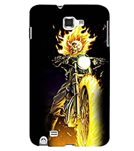 Printvisa Burning Skeleton On A Bike Back Case Cover for Samsung Galaxy Note i9220::Samsung Galaxy Note 1 N7000