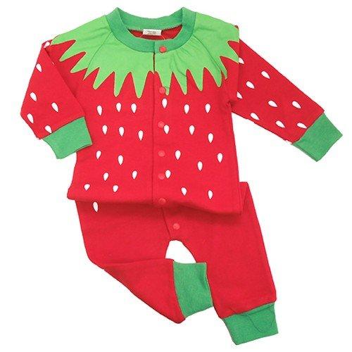 Strawberry/いちご◎長袖ベイビーロンパース☆赤ちゃん/ベビー服(コスプレ)通販☆【70cm】