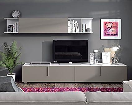Conjunto Salón TV Lyon Blanco Brillo Basalto - LuxoMobel