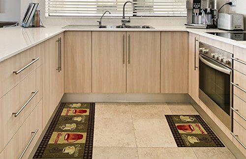 Anti Bacterial Rubber Back Home And Kitchen Rugs Non Skid Slip 2x5 Coffee Themed Decorative