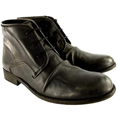 Mens Fly London Watt Chukka Smart Leather Oxfords Shoes Ankle High Boots - Black - 11