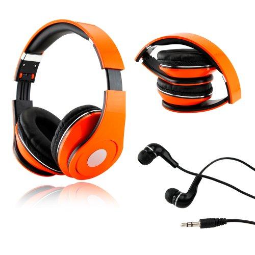 Gearonic Tm Orange Adjustable Circumaural Over-Ear Earphone Stero Headphone 3.5Mm For Ipod Mp3 Mp4 Pc Iphone Music + Free Earbuds